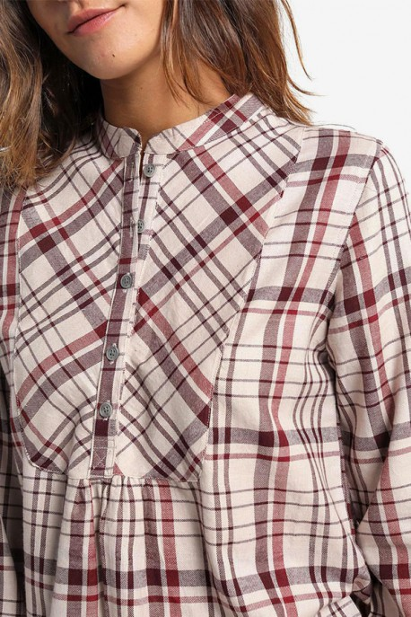 Camisa de Cuadros Abotonada Detalles Fruncidos