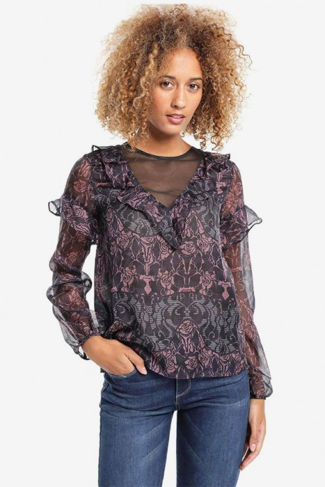 Blusa Transparencias Estampada