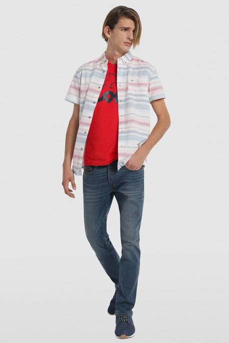 Camisa M/C rayas con bolsillos